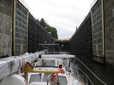 Exiting one of the locks on the way south