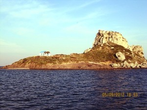 The small isalnd with a chapel north Kamaris Bay, Kos