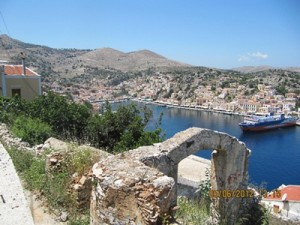 The town of Symi just over the hill from our anchorage at Pedi Bay